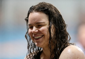 Mary Fisher (PARA) celebrates a World Record in the 50m Butterfly during the New Zealand Open Swimming Championships, Owen G Glenn National Aquatic Centre, Auckland, New Zealand. Friday 1 April 2016 Photo: Simon Watts / www.bwmedia.co.nz